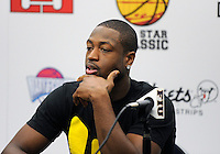 NBA player Dwyane Wade at the pre-game press conference at the South Florida All Star Classic held at FIU's U.S. Century Bank Arena, Miami, Florida. .