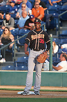 Correlle Prime (35) of the Modesto Nuts takes a throw at first base during a game against the Rancho Cucamonga Quakes at LoanMart Field on May 39, 2015 in Rancho Cucamonga, California. Rancho Cucamonga defeated Modesto, 13-2. (Larry Goren/Four Seam Images)