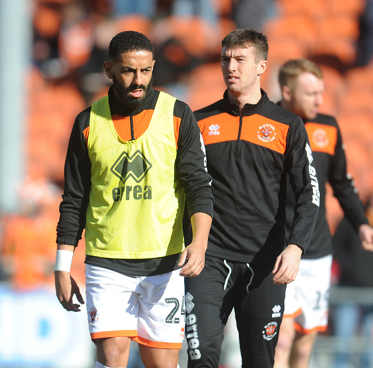 Blackpool's Liam Feeney (left) and Chris Long during the pre-match warm-up <br /> <br /> Photographer Kevin Barnes/CameraSport<br /> <br /> The EFL Sky Bet League One - Blackpool v Southend United - Saturday 9th March 2019 - Bloomfield Road - Blackpool<br /> <br /> World Copyright © 2019 CameraSport. All rights reserved. 43 Linden Ave. Countesthorpe. Leicester. England. LE8 5PG - Tel: +44 (0) 116 277 4147 - admin@camerasport.com - www.camerasport.com