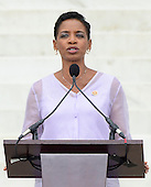 United States Representative Donna Edwards (Democrat of Maryland) makes remarks at the Let Freedom Ring ceremony on the steps of the Lincoln Memorial to commemorate the 50th Anniversary of the March on Washington for Jobs and Freedom<br /> Credit: Ron Sachs / CNP
