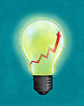 Illustrative image of light bulb with upward moving arrow representing business idea development