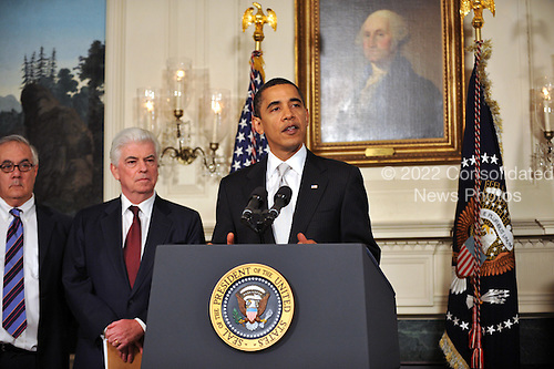 Washington, D.C. - February 25, 2009 -- United States President Barack Obama makes a statement after meeting Secretary of the Treasury Timothy Geithner and the chairmen and ranking members of the Senate Banking Committee and the House Financial Services Committee at the White House in Washington, D.C. on Wednesday, February 25, 2009. From left to right: United States Representative Barney Frank (Democrat of Massachusetts), Chairman, United States House Financial Services Committee; United States Senator Christopher Dodd (Democrat of Connecticut), Chairman, United States Senate Committee on Banking, Housing, and Urban Affairs; and President Obama.Credit: Ron Sachs / Pool via CNP
