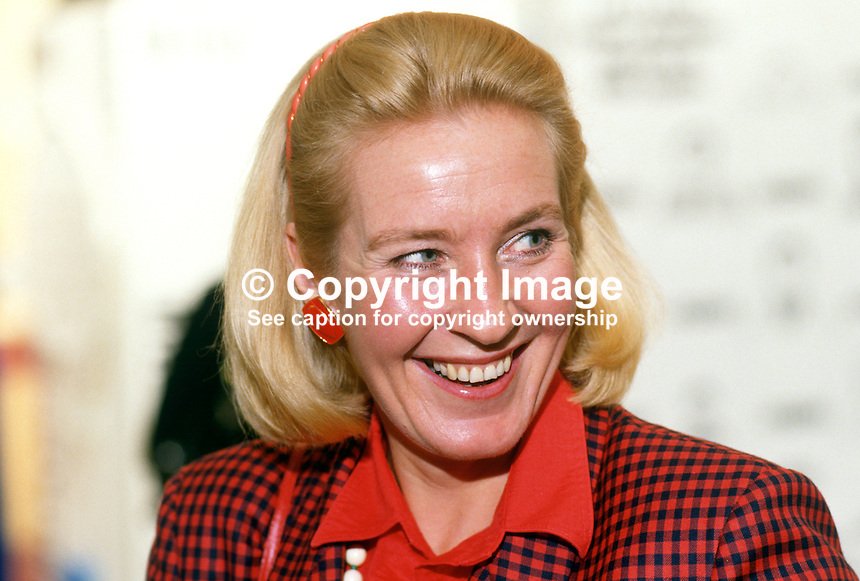 Christine Hamilton, wife, Neil Hamilton, MP, Conservative Party, UK, 19871028CH1..Copyright Image from Victor Patterson, 54 Dorchester Park, Belfast, UK, BT9 6RJ..Tel: +44 28 9066 1296.Mob: +44 7802 353836.Voicemail +44 20 8816 7153.Skype: victorpattersonbelfast.Email: victorpatterson@me.com.Email: victorpatterson@ireland.com (back-up)..IMPORTANT: If you wish to use this image or any other of my images please go to www.victorpatterson.com and click on the Terms & Conditions. Then contact me by email or phone with the reference number(s) of the image(s) concerned.