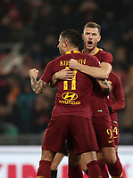 Football, Serie A: AS Roma - Bologna FC, Olympic stadium, Rome, February 18, 2019. <br /> Roma's Aleksandar Kolarov (l) celebrates after scoring with his teammate Edin Dzeko (r) during the Italian Serie A football match between AS Roma and Bologna FC at Olympic stadium in Rome, on February 18, 2019.<br /> UPDATE IMAGES PRESS/Isabella Bonotto