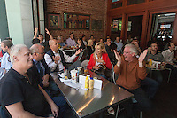 San Francisco, CA - Tuesday, July 8, 2014: World Cup fans react in disbelief at Harrington's Bar and Grill in the Financial District as Germany scores its fourth goal in the first half during a semi-final World Cup match.