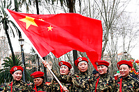 Women soldiers with a Chinese flag<br /> Rome February 10th 2019. Celebrations for Chinese New Year 2019 in Rome. This year begins the year of the pig.<br /> Foto Samantha Zucchi Insidefoto