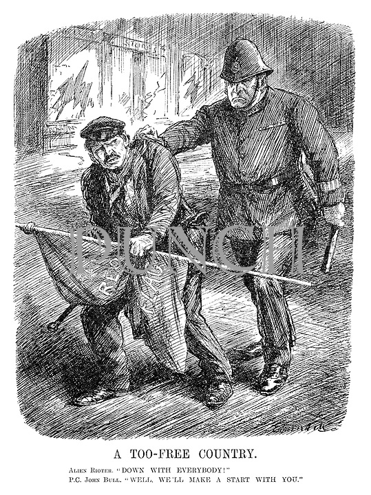 """A Too-Free Country. Alien Rioter. """"Down with everybody!"""" PC John Bull. """"Well, we'll make a start with you."""" (a cartoon showing John Bull as an angry policeman arresting a rioter carrying The Red Flag after having smashed shop windows in the InterWar era)"""