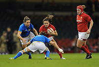 Wales Jaz Joyce takes on Italy&rsquo;s Elisa Giordano<br /> <br /> Photographer Ian Cook/CameraSport<br /> <br /> 2018 Women's Six Nations Championships Round 4 - Wales Women v Italy Women - Sunday 11th March 2018 - Principality Stadium - Cardiff<br /> <br /> World Copyright &copy; 2018 CameraSport. All rights reserved. 43 Linden Ave. Countesthorpe. Leicester. England. LE8 5PG - Tel: +44 (0) 116 277 4147 - admin@camerasport.com - www.camerasport.com