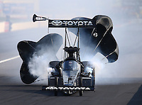 Sep 6, 2015; Clermont, IN, USA; NHRA top fuel driver Shawn Langdon during qualifying for the US Nationals at Lucas Oil Raceway. Mandatory Credit: Mark J. Rebilas-USA TODAY Sports
