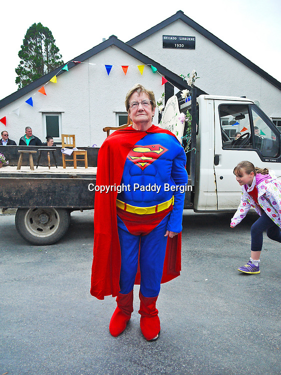 Superwoman at Llanafan Carnival, Ceredigion, West Wales.<br />