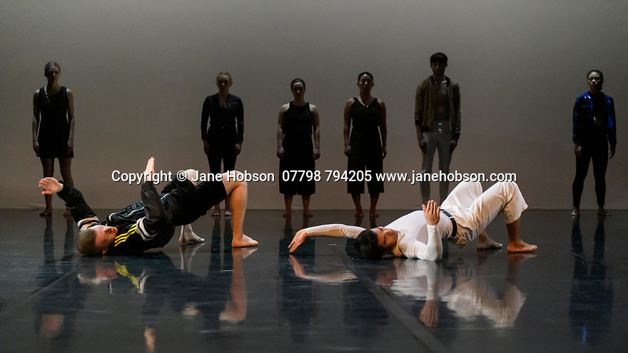 """Leeds, UK. 03.12.2019. Second Year students of BA (Hons) Dance (Contemporary), at the Northern School of Contemporary Dance, present work as part of NEW GROUND, in the Riley Theatre. This piece is: """"Puzzle Work"""" by choreographer Anton Lachky. Lighting design is by Mark Baker, with costume design by Melissa Burton. The dancers are: Var Bech Arting, Pattarapong Chomchan, Kieron Faller, Luke Hodkinson, Angharad Jones-Young, Sarah McCann, Denise Dannii Tan, Marina Tubau Burcion, Holly Yu. Photograph © Jane Hobson."""