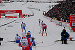 HOLMENKOLLEN, OSLO, NORWAY - March 16: (R-L) Petter jr. Northug of Norway (NOR), Daniel Richardsson of Sweden (SWE), Tord Asle Gjerdalen of Norway (NOR) and Maxim Vylegzhanin of Russia (RUS) finish the Men 50 km mass start, free technique, at the FIS Cross Country World Cup on March 16, 2013 in Oslo, Norway. (Photo by Dirk Markgraf)