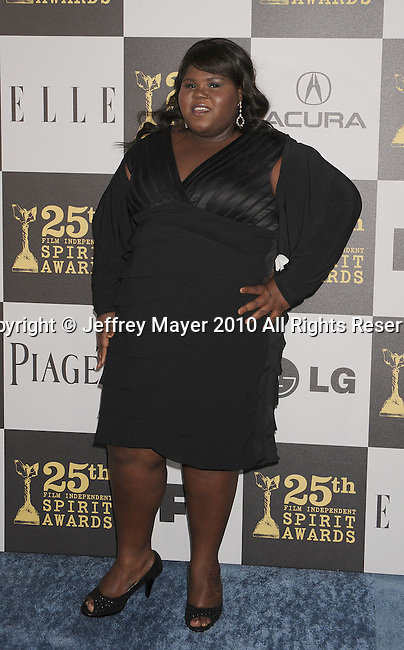 LOS ANGELES, CA. - March 05: Actress Gabourey Sidibe  arrives at the 25th Film Independent Spirit Awards held at Nokia Theatre L.A. Live on March 5, 2010 in Los Angeles, California.