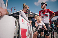 Jens Keukeleire (BEL/Lotto-Soudal) & son at the race start<br /> <br /> 59th Grand Prix de Wallonie 2018 <br /> 1 Day Race from Blegny to Citadelle de Namur (BEL / 206km)