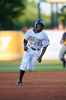 West Michigan Whitecaps left fielder Rashad Brown (25) running the bases during a game against the Burlington Bees on July 25, 2016 at Fifth Third Ballpark in Grand Rapids, Michigan.  West Michigan defeated Burlington 4-3.  (Mike Janes/Four Seam Images)