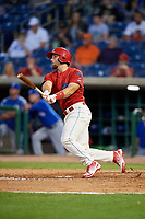 Clearwater Threshers designated hitter Austin Listi (34) follows through on a swing during a game against the Dunedin Blue Jays on April 6, 2018 at Spectrum Field in Clearwater, Florida.  Clearwater defeated Dunedin 8-0.  (Mike Janes/Four Seam Images)