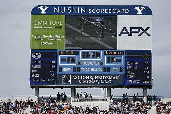 Provo - BYU vs. Wyoming college football, Saturday, September 20, 2008, at BYU's Edwards Stadium. scoreboard