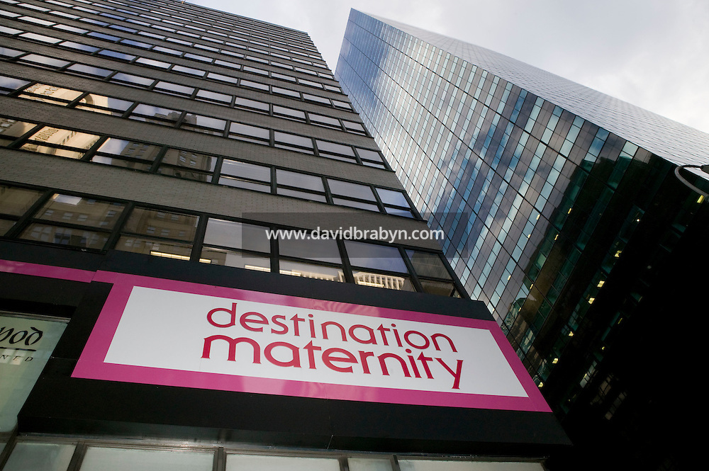 View of the Destination Maternity sign outside the store on Madison Avenue in New York City, USA, 10 March 2006.