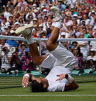 Rafael Nadal (ESP) (1) against Tomas Berdych (CZE) (12)in the final of the gentlemen's singles. Rafael Nadal beat Tomas Berdych 6-3 7-5 6-4..Tennis - Wimbledon Lawn Tennis Championships - Day 13 Sun 4th Jul 2010 -  All England Lawn Tennis and Croquet Club - Wimbledon - London - England..© FREY - AMN IMAGES  Level 1, Barry House, 20-22 Worple Road, London, SW19 4DH.TEL - +44 (0) 20 8947 0100.Email - mfrey@advantagemedianet.com.www.advantagemedianet.com