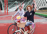 NO REPRO FEE. 8/6/2011.Dublin's Bike to Work Day. 98FM DJ Claire Solan and DCC cycling officer Ciaran Fallon are pictured at Grand Canal Dock launching Bike to Work Day, they took a spin around Dublin Docklands on Dutch bicycles to prepare for the lunchtime cycle on June 22nd, at which all workers who cycle to their place of employment will be encouraged to take part.Win one of 500 goodie bags by registering to attend the event @ www.dublincitycycling.ie.  Prizes for best dressed will also be presented following the cycle For further information contact:Emer O'Reilly, Limelight Communications E: emer.oreilly@limelight.ie T: 01 6680600 /0868593658. Picture James Horan/Collins Photos
