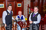 Sean O'Donoghue was waited on by  Aoife Cullen left and  Ellen Moynihan in the International Hotel restaurant Killarney on Monday
