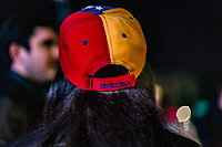 MEXICALI,  MEXICO - January 24. A person wears a Venezuelan flan cap while participating in a public demonstration supporting Juan Guaido on January 24, 2018 in Mexicali, Mexico. Donald Trump has promptly recognized formerly-unknown Juan Guaigó as interim president of Venezuela. Sec. of State Mike Pompeo announced that the US is ready to provide more than $20,000,000 in humanitarian aid to the people of Venezuela. (Photo by Luis Boza/VIEWpress)