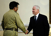 Islamabad, Pakistan - February 12, 2007 -- United States Secretary of Defense Robert Gates meets with President Pervez Musharraf of Pakistan in Islamabad, Pakistan, Monday, February 12, 2007.  <br /> Credit: Cherie A. Thurlby-DoD via CNP
