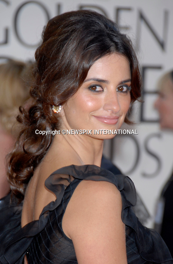 "PENLOPE CRUZ MARRIES JAVIER BARDEM.It has been confirmed that the couple have tied the knot in a private ceremony in the Bahamas last week...PENELOPE CRUZ.The 64th Annual Golden Globes awards for motion pictures and television are hosted by the Hollywood Foreign Press Association were hels at the Beverly Hilton, Los Angeles..The event is closely watched as a pointer to possible OSCAR success_15/01/2007.Mandatory Photo Credit:© DIAS-NEWSPIX INTERNATIONAL(Failure to credit will incur a surcharge of 100% of reproduction fees)..**ALL FEES PAYABLE TO: ""NEWSPIX INTERNATIONAL""**..IMMEDIATE CONFIRMATION OF USAGE REQUIRED:.Newspix International, 31 Chinnery Hill, Bishop's Stortford, ENGLAND CM23 3PS.Tel: +441279 324672  ; Fax: +441279656877.Mobile:  07775681153.e-mail: photos@newspixinternational.co.uk"