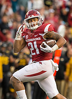 Hawgs Illustrated/BEN GOFF <br /> Devwah Whaley, Arkansas running back, carries 28 yards for a touchdown in the third quarter against Missouri Friday, Nov. 24, 2017, at Reynolds Razorback Stadium in Fayetteville.
