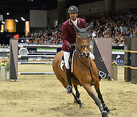 Sheikh Ali Bin Khalid Al Thani (Qatar), riding First Devision at the Gucci Gold Cup International Jumping competition at the 2015 Longines Masters Los Angeles at the L.A. Convention Centre.<br /> October 3, 2015  Los Angeles, CA<br /> Picture: Paul Smith / Featureflash