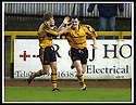 18/01/2003                   Copyright Pic : James Stewart.File Name : stewart-alloa v qots16.ANDY SEATON (RIGHT) IS CONGRATULATED BY RYAN DAVIDSON AFTER SCORING ALLOA'S SECOND GOAL.....James Stewart Photo Agency, 19 Carronlea Drive, Falkirk. FK2 8DN      Vat Reg No. 607 6932 25.Office     : +44 (0)1324 570906     .Mobile  : +44 (0)7721 416997.Fax         :  +44 (0)1324 570906.E-mail  :  jim@jspa.co.uk.If you require further information then contact Jim Stewart on any of the numbers above.........