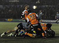 Cardiff Blues&rsquo; Nick Williams scores his side's third try<br /> <br /> Photographer Kevin Barnes/CameraSport<br /> <br /> Guinness Pro14  Round 14 - Cardiff Blues v Toyota Cheetahs - Saturday 10th February 2018 - Cardiff Arms Park - Cardiff<br /> <br /> World Copyright &copy; 2018 CameraSport. All rights reserved. 43 Linden Ave. Countesthorpe. Leicester. England. LE8 5PG - Tel: +44 (0) 116 277 4147 - admin@camerasport.com - www.camerasport.com