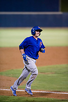 AZL Cubs designated hitter Marcus Mastrobuoni (5) talks to relief pitcher Alfredo Colorado (75) as they walk off the field between innings against the AZL Brewers on August 24, 2017 at Maryvale Baseball Park in Phoenix, Arizona. AZL Cubs defeated the AZL Brewers 9-1. (Zachary Lucy/Four Seam Images)