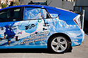 A Toyota Prius hybrid wrapped in full body advertising promoting 350.org and their International Day of Climate Action to take place on October 24, 2009. The vehicle was parked outside of West Coast Green conference taking place at San Francisco, California, USA. Photo taken October 2, 2009.