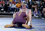 SIOUX FALLS, SD - NOVEMBER 11: Rylee Molitor from South Dakota State battles with Cory Crooks from Arizona State during their 141 pound match Sunday afternoon at the Sanford Pentagon in Sioux Falls, SD.  (Photo by Dave Eggen/Inertia)