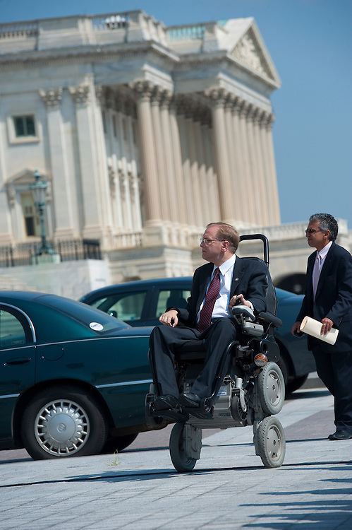 UNITED STATES - JULY 28: Jim Langevin, D-R.I., arrives at the 75th Anniversary of Social Security press event on the East Front of the U.S. Capitol on July 28, 2010...(Photo By Douglas Graham/Roll Call via Getty Images)