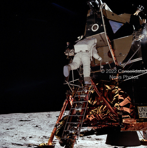 """The Moon - (FILE) -- Astronaut Edwin E. """"Buzz"""" Aldrin descending ladder to step on the surface of the Moon on Sunday, July 20, 1969..Credit: NASA via CNP"""