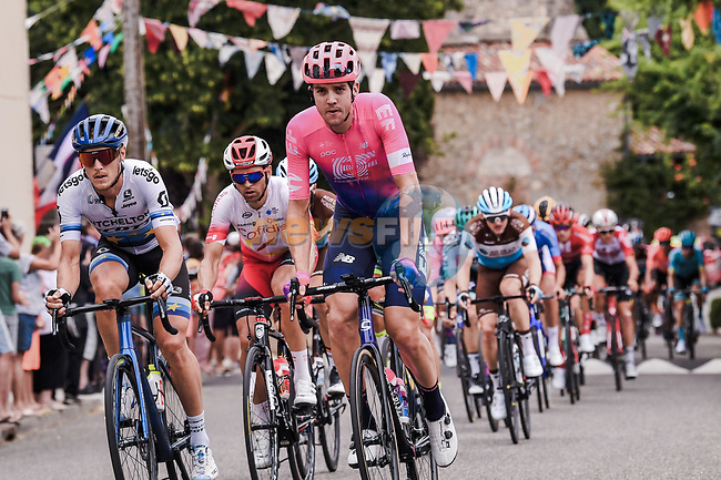 European Champion Matteo Trentin (ITA) Mitchelton-Scott and Tom Scully (NZL) EF Education First during Stage 12 of the 2019 Tour de France running 209.5km from Toulouse to Bagneres-de-Bigorre, France. 18th July 2019.<br /> Picture: ASO/Pauline Ballet | Cyclefile<br /> All photos usage must carry mandatory copyright credit (© Cyclefile | ASO/Pauline Ballet)