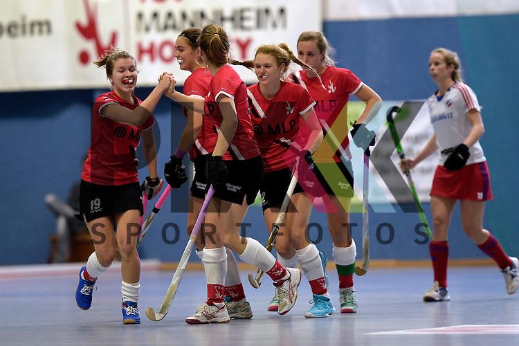 GER - Mannheim, Germany, January 10: During the 1. Bundesliga Sued Damen indoor hockey match between TSV Mannheim (red) and Mannheimer HC (white) on January 10, 2016 at TSV Mannheim in Mannheim, Germany.   (L-R) Antje Rink #19 of TSV Mannheim, Violetta Klein #44 of TSV Mannheim, Corinna Przybilla #25 of TSV Mannheim, Emma Hessler #2 of TSV Mannheim, Tonja Fabig #31 of TSV Mannheim<br /> <br /> Foto &copy; PIX-Sportfotos *** Foto ist honorarpflichtig! *** Auf Anfrage in hoeherer Qualitaet/Aufloesung. Belegexemplar erbeten. Veroeffentlichung ausschliesslich fuer journalistisch-publizistische Zwecke. For editorial use only.