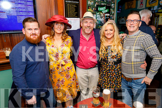 Alex Maguire, Andrea Dolan, Tim Landers, Jackie O'Malley Hurley and John Kelly enjoying the Cheltenham Races in the Castle Bar on Thursday.
