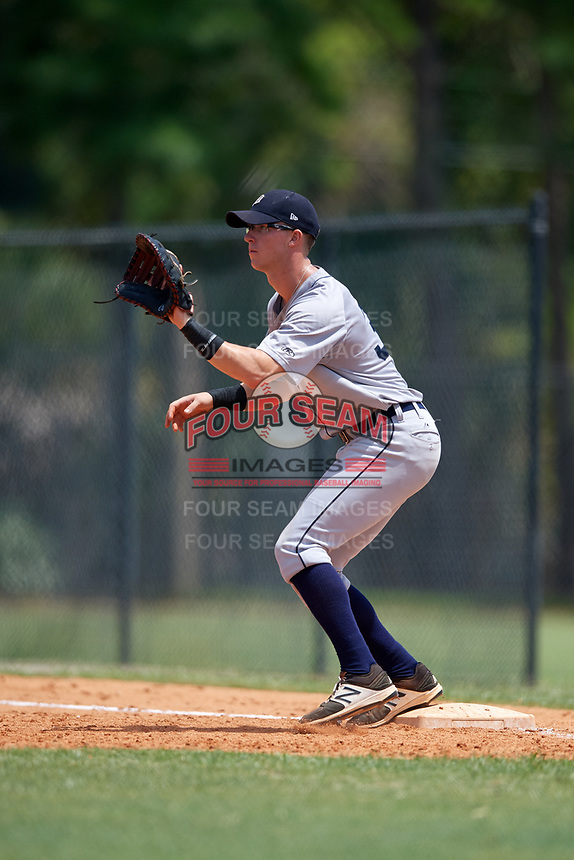 GCL Tigers West first baseman Justin Childers (33) during a game against the GCL Tigers East on August 8, 2018 at Tigertown in Lakeland, Florida.  GCL Tigers East defeated GCL Tigers West 3-1.  (Mike Janes/Four Seam Images)