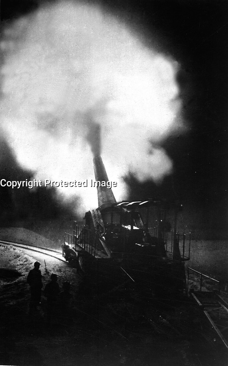 Greatest French gun (320mm) at moment of firing during a night bombardment.  The belch of smoke from the explosion of the charge is a flash of light at night and makes a most unusual sight.  Underwood &amp; Underwood. (War Dept.)<br /> Exact Date Shot Unknown<br /> NARA FILE #:  165-WW-286-6<br /> WAR &amp; CONFLICT BOOK #:  626