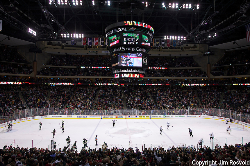 21 Jan 12: The Minnesota Wild play the Dallas Stars at the Xcel Energy Center in St. Paul, MN. This game is part of Hockey Day Minnesota 2012.