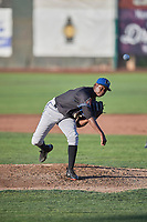 Missoula Osprey starting pitcher Wilfry Cruz (46) delivers a pitch to the plate against the Ogden Raptors at Lindquist Field on July 12, 2018 in Ogden, Utah. Missoula defeated Ogden 11-4. (Stephen Smith/Four Seam Images)