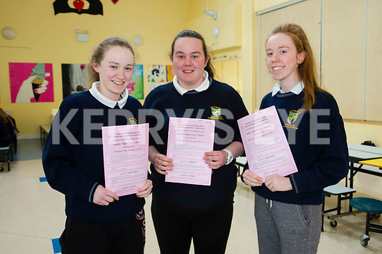 Niamh Crowley, Joanne McCarthy and Sinéad Connelly  Kenmare students on the first day of the Leaving Certificate.