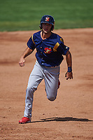 State College Spikes shortstop Champ Rowland (22) running the bases during a game against the Batavia Muckdogs August 23, 2015 at Dwyer Stadium in Batavia, New York.  State College defeated Batavia 8-2.  (Mike Janes/Four Seam Images)