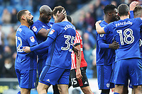 Anthony Pilkington of Cardiff City celebrates scoring his sides fourth goal of the match as Sol Bamba congratulates Yanic Wildschut for his assist during the Sky Bet Championship match between Cardiff City and Sunderland at the Cardiff City Stadium, Wales, UK. Saturday 13 January 2018