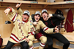 07 APR 2012:  Boston College celebrates their victory over Ferris State University during the Division I Men's Ice Hockey Championship held at the Tampa Bay Times Forum in Tampa, FL.  Boston College defeated Ferris State 4-1 to win the national title.  Matt Marriott/NCAA Photos