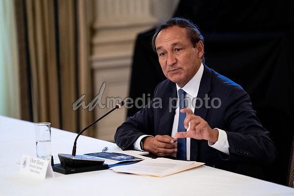 Oscar Munoz, Executive Chairman, United Airlines, makes remarks during a roundtable discussion with industry leaders on reopening the American economy in the State Dining Room of the White House in Washington, DC on May 29, 2020. <br /> Credit: Erin Schaff / Pool via CNP/AdMedia