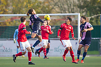 Reisse Allassani of Dulwich Hamlet leaps to control the ball during Harlow Town vs Dulwich Hamlet, Buildbase FA Trophy Football at The Harlow Arena on 11th November 2017